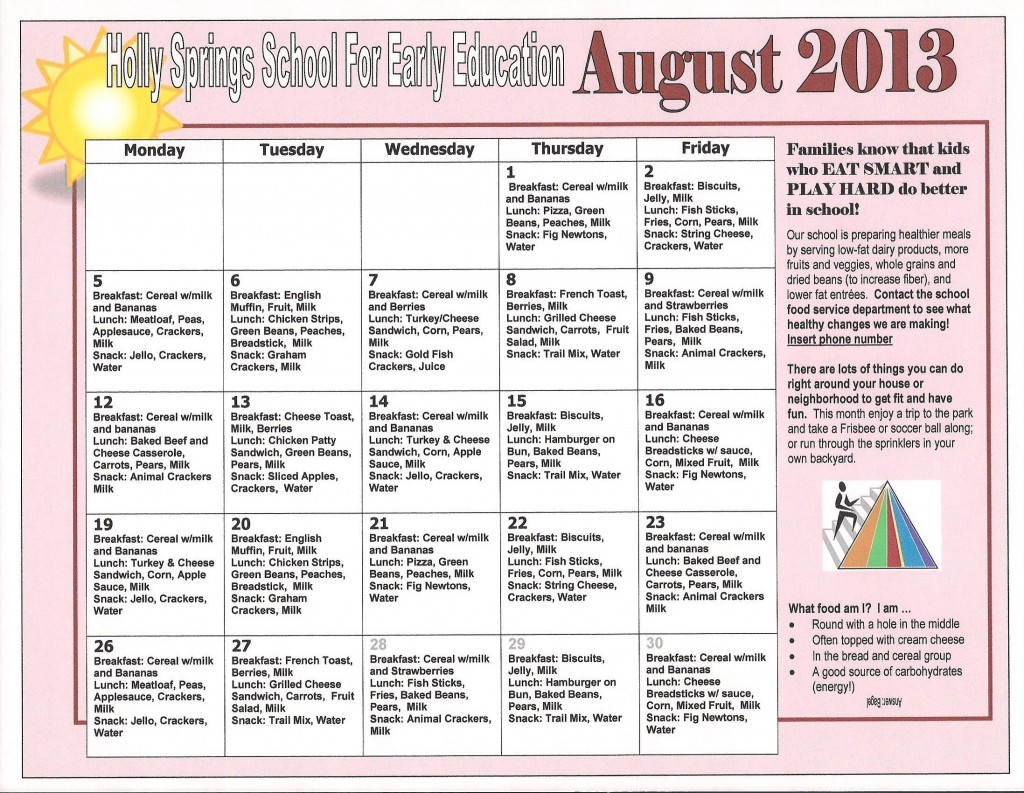 Holly Springs School 08-2013 Lunch Menu