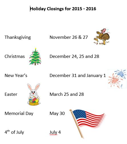 Holly Springs Holiday Schedule 2